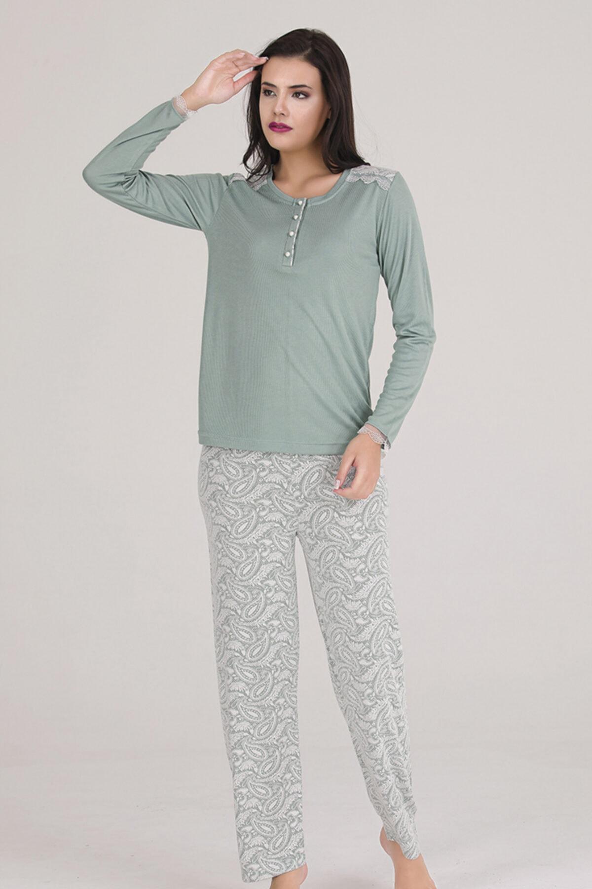 Sevil Giyim Kadın Yeşil  Örme Pijama Takımı 2