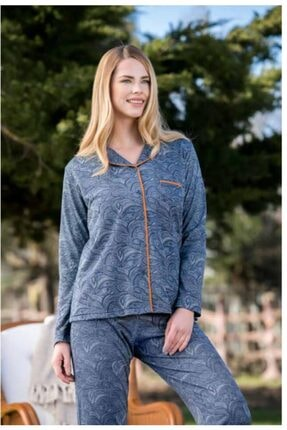 Yeni İnci Kadın Lacivert Düğmeli Pijama Takımı