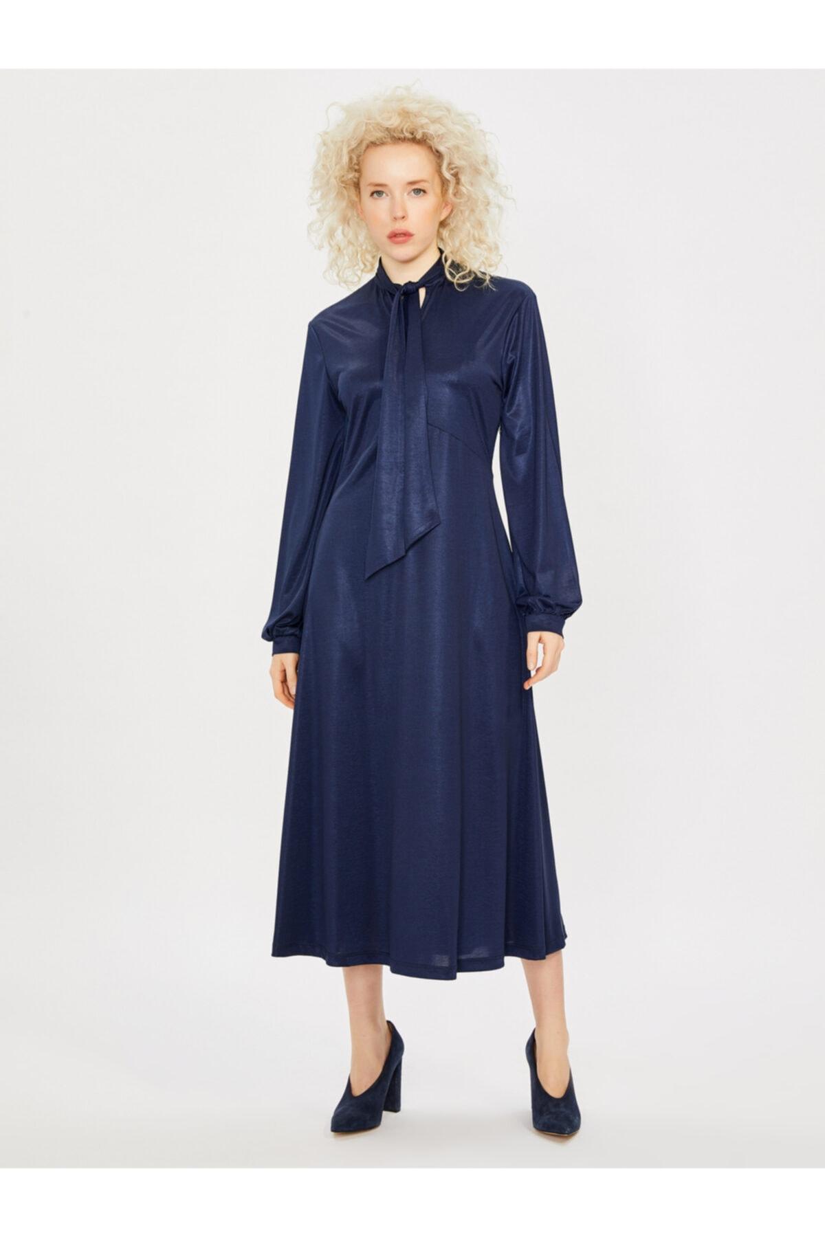 Vekem Kadın Saks Yakası Bağlamalı Uzun Kol Maksi Elbise 1