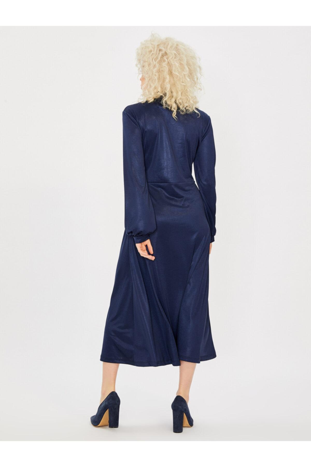 Vekem Kadın Saks Yakası Bağlamalı Uzun Kol Maksi Elbise 2