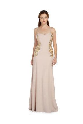 Günay Giyim Kadın Kahverengi Askılı Abiye Elbise Tb5821