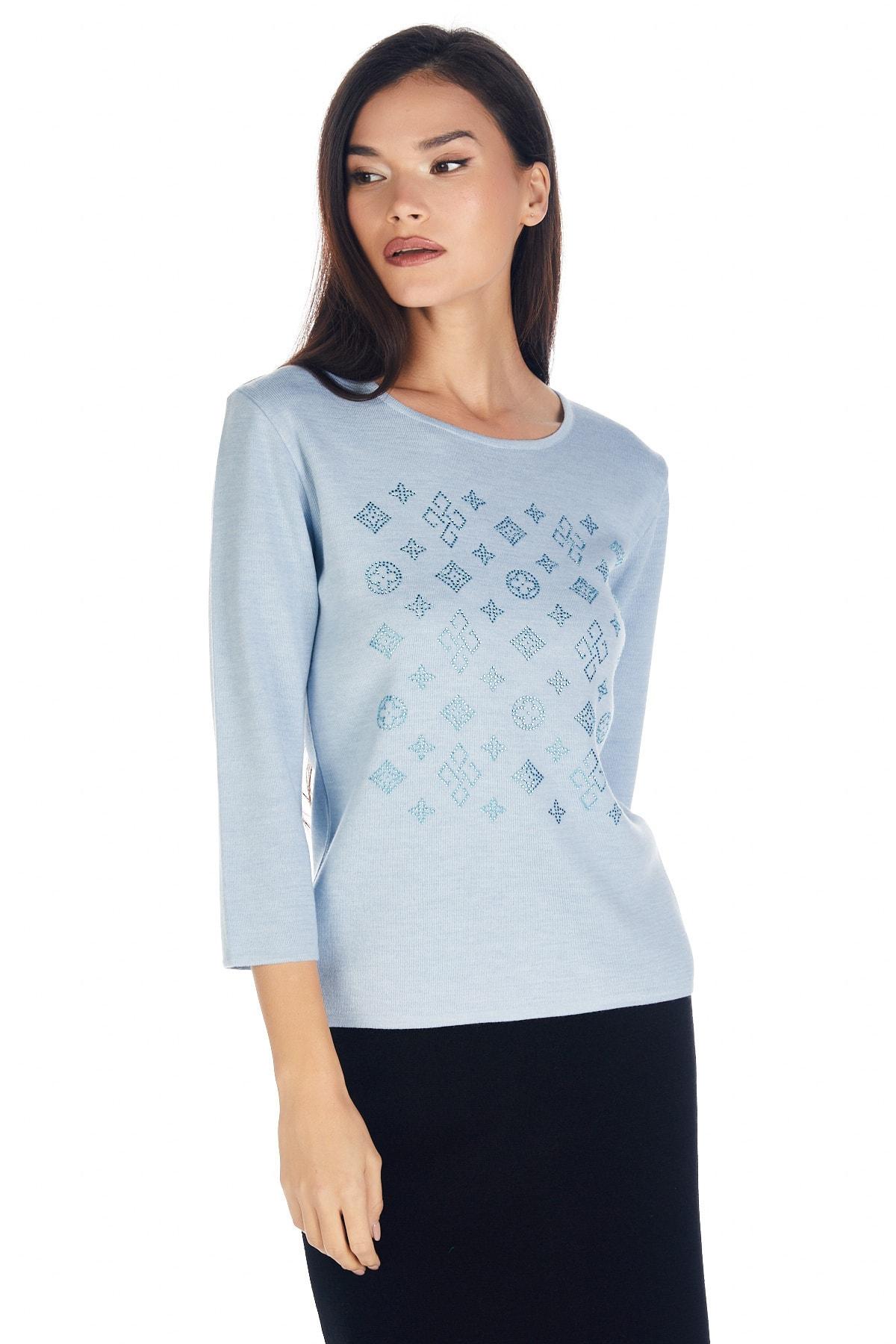 Solo Kadın Kristal Taş Baskılı Luxury Triko Bluz 2