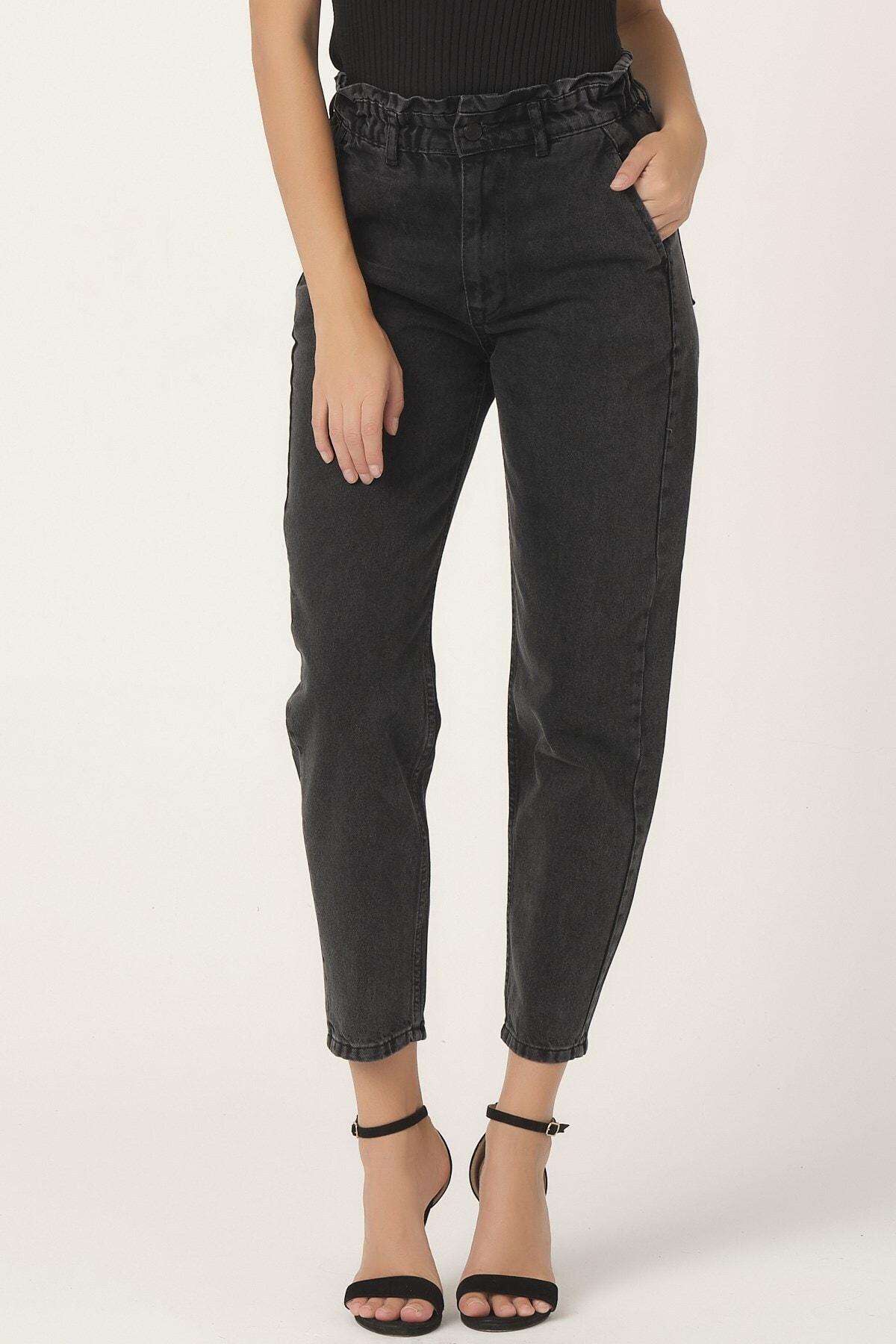its basic Kadın Füme Renk Beli Lastikli Balon Jean 1