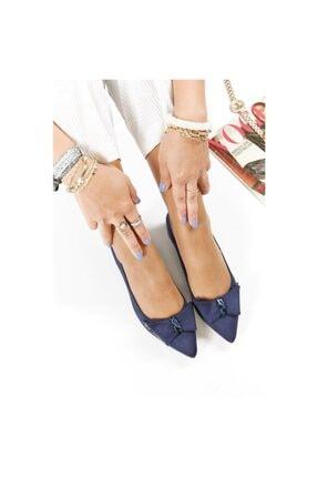 FORS SHOES Lacivert Lüx Süet Fiyonklu Klasik Kadın Ayakkabı Kısa Topuk