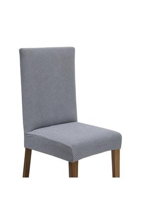 Latuda Concept Likralı Yıkanabilir 6'lı Sandalye Kılıfı | Sandalye Örtüsü Gri