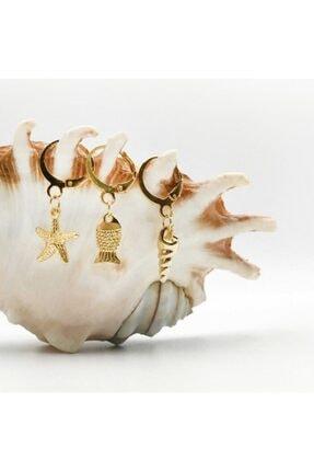 Artikel Kadın Deniz 3'lü Gold Küpe