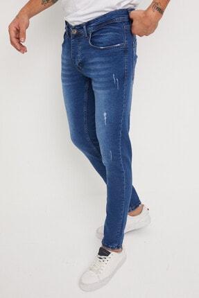 Newtime Erkek Jeans Skinny Fit Likralı Tırnaklı Mavi