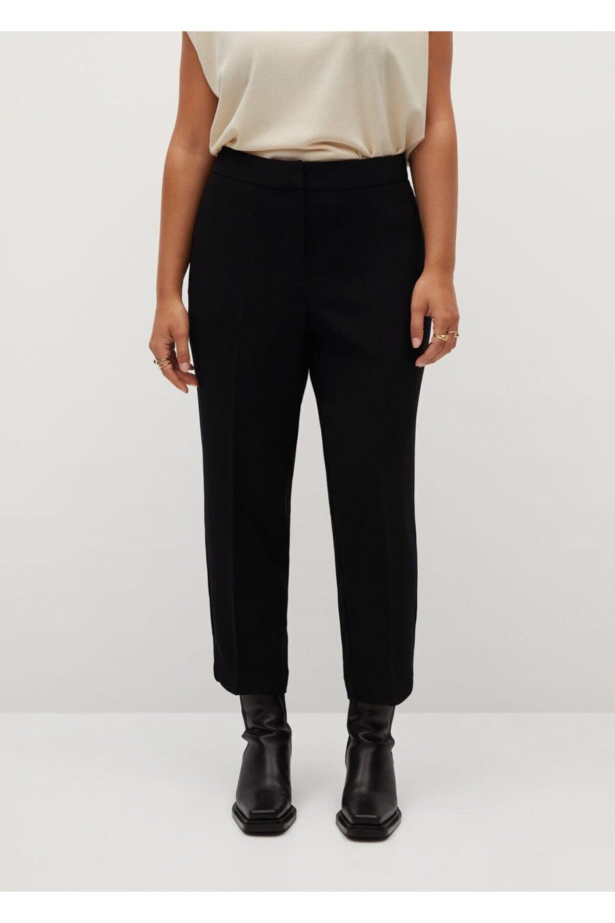 Violeta by MANGO Kadın Siyah Kısa Paçalı Dar Kesim Pantolon 2