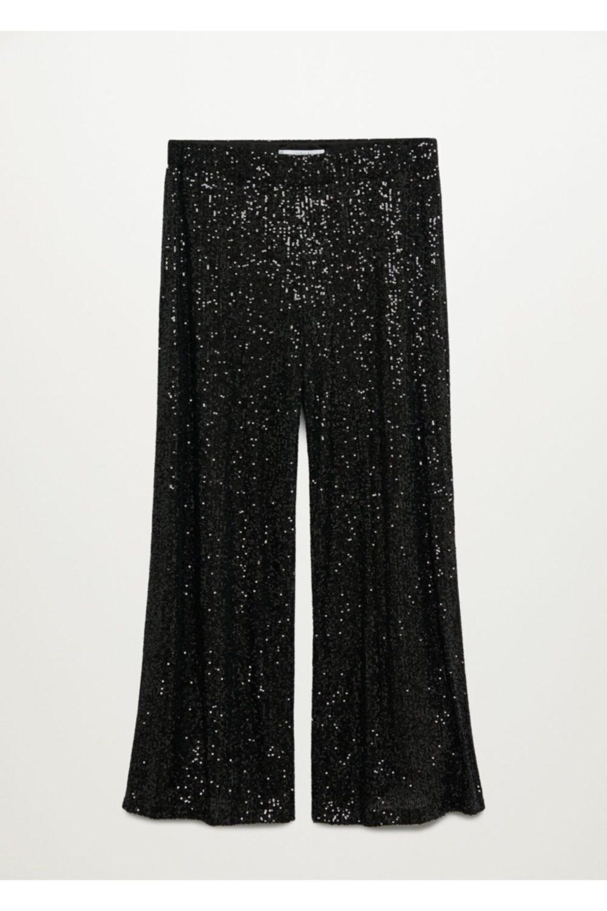 Violeta by MANGO Kadın Siyah Pantolon 77049204 1