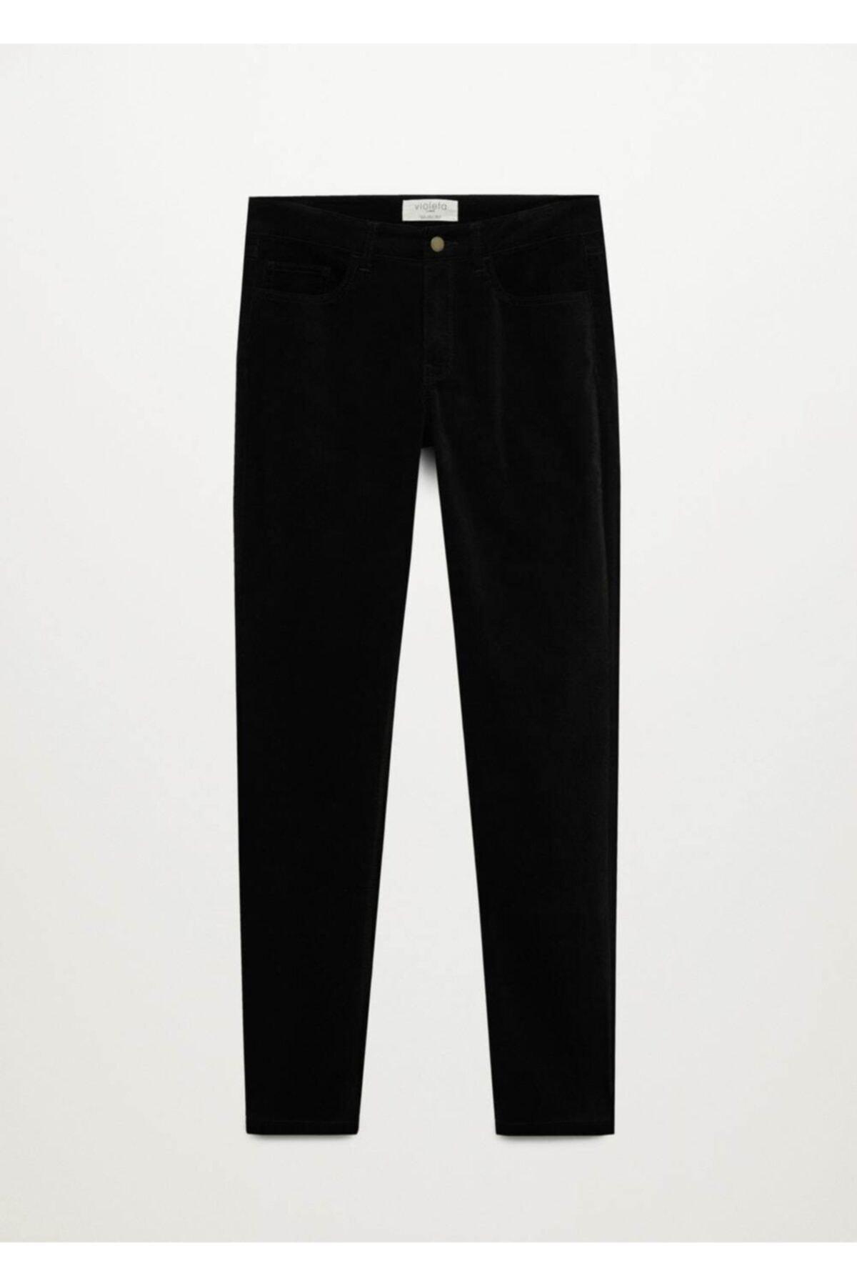 Violeta by MANGO Kadın Siyah Pantolon 1