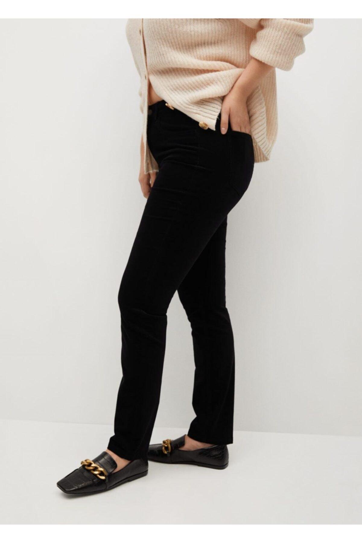 Violeta by MANGO Kadın Siyah Pantolon 2
