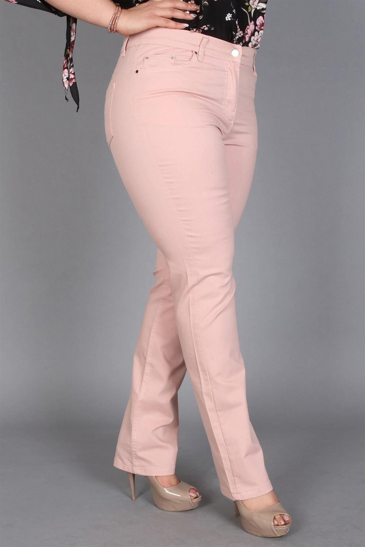 Günay Giyim Kadın Pudra Kanvas Yüksek Bel Düz Paça Pantolon Rg1029p 2