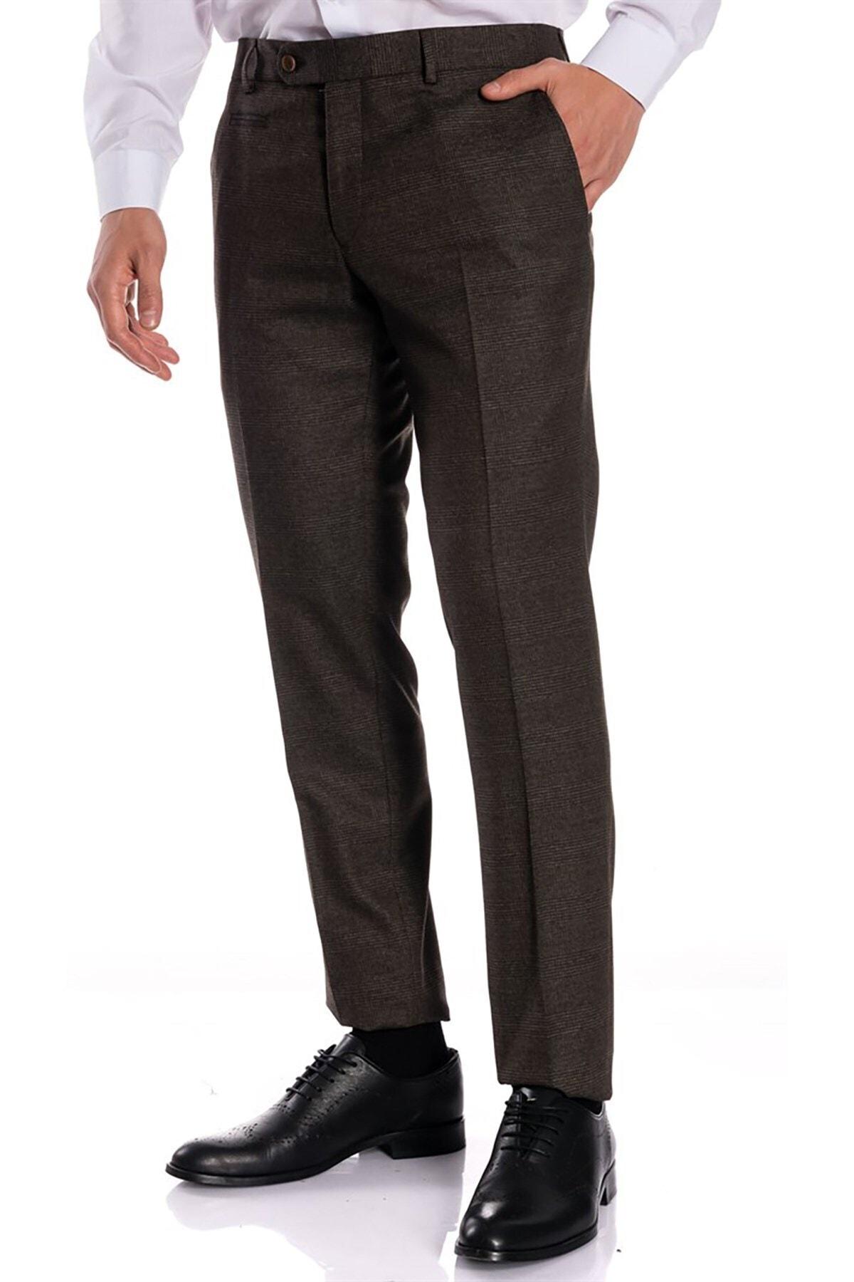 İgs Erkek Kahverengi Slim Fit Pantolon 1