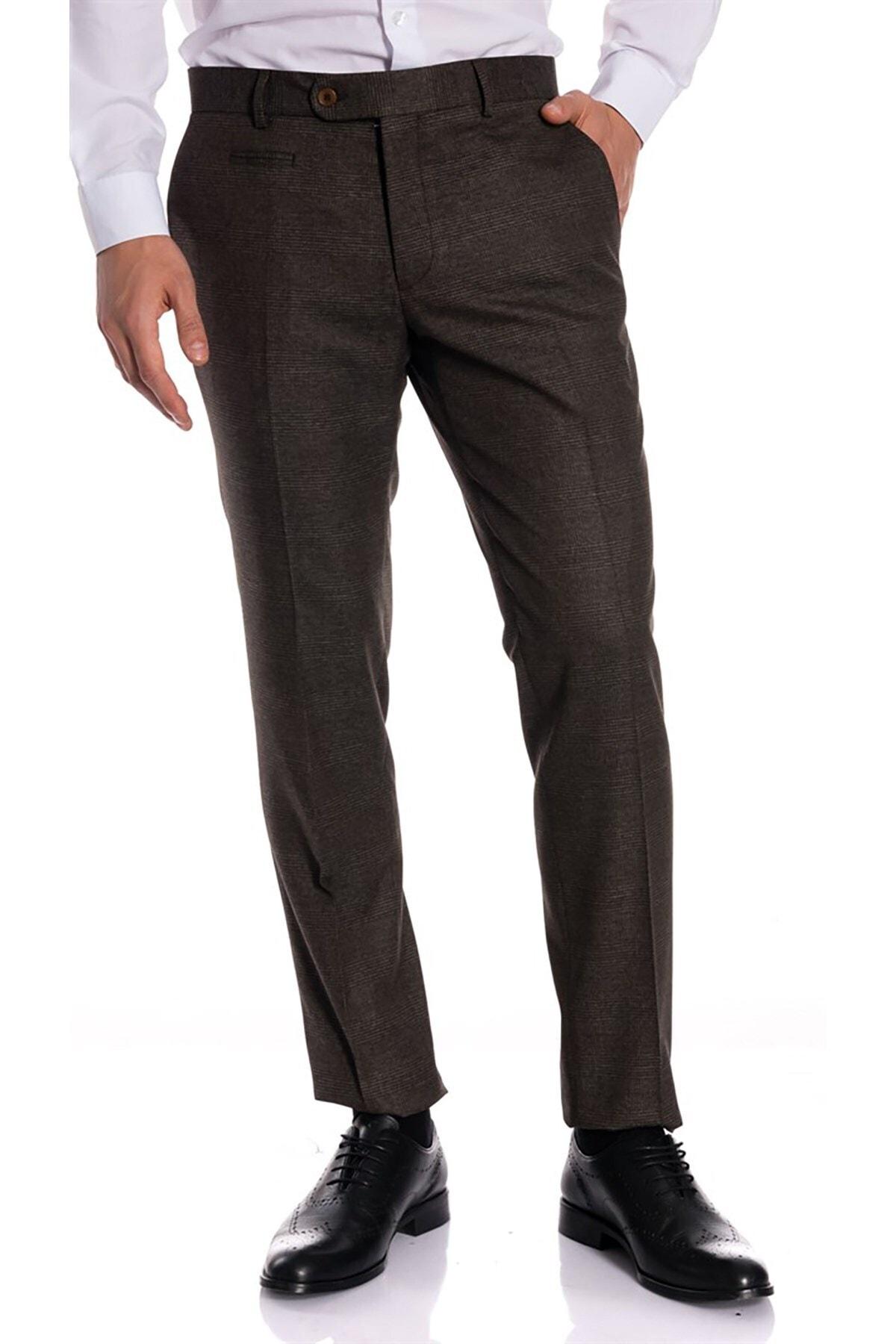 İgs Erkek Kahverengi Slim Fit Pantolon 2