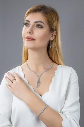 BARIŞ TAKI Kadın 925 Ayar Gümüş Salkım 3 Sıra Su Yolu Düğün Seti