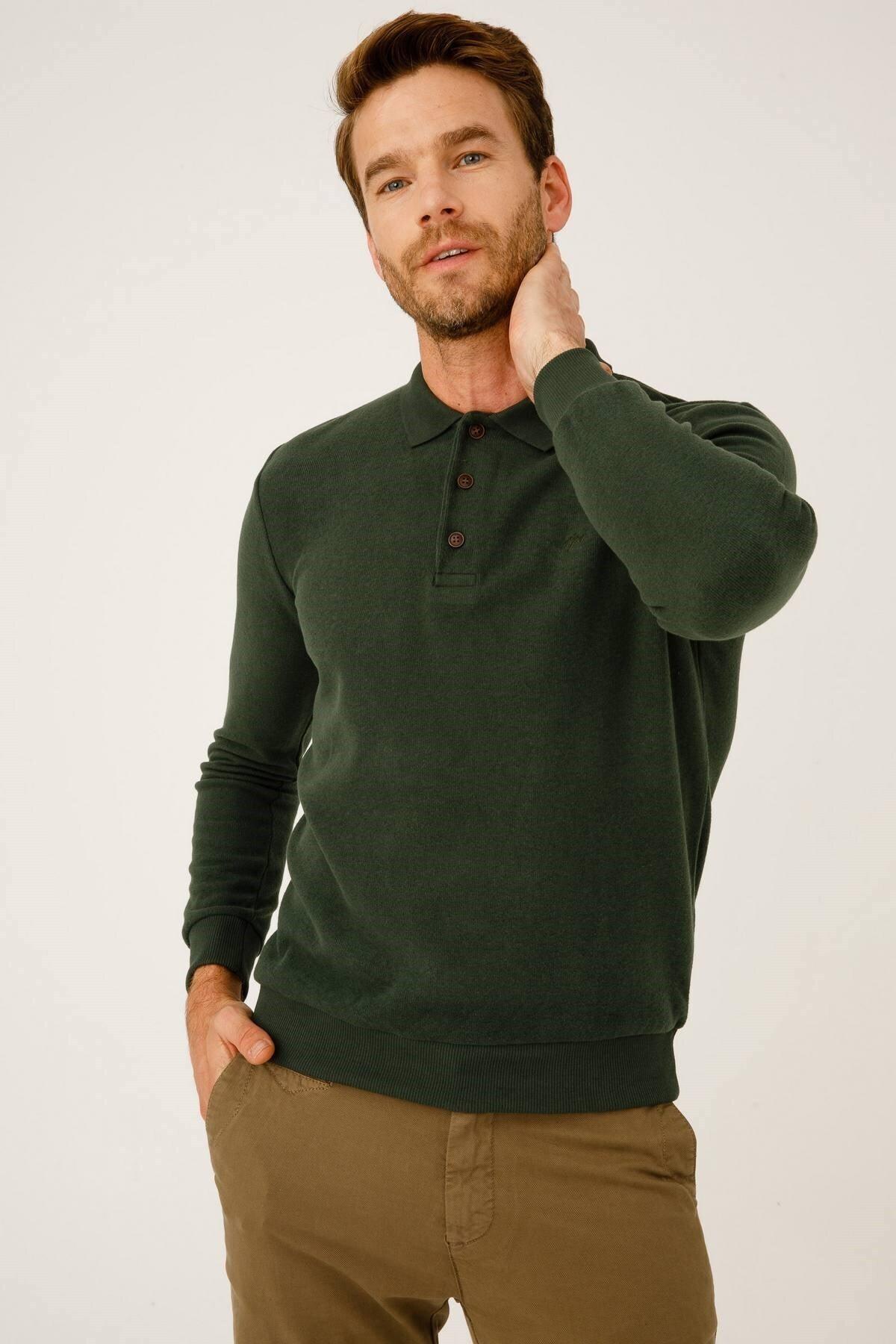 İgs Erkek Haki Standart Polo Yaka Triko 1