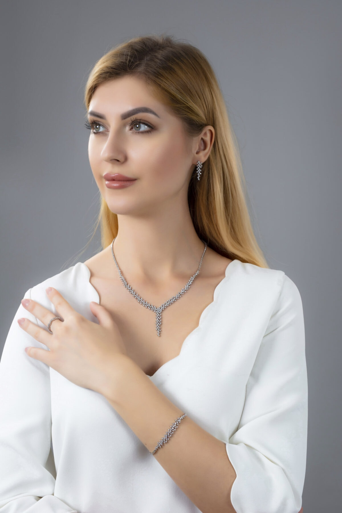BARIŞ TAKI Kadın 925 Ayar Gümüş Salkım Pırlanta Montür Su Yolu Düğün Seti 1