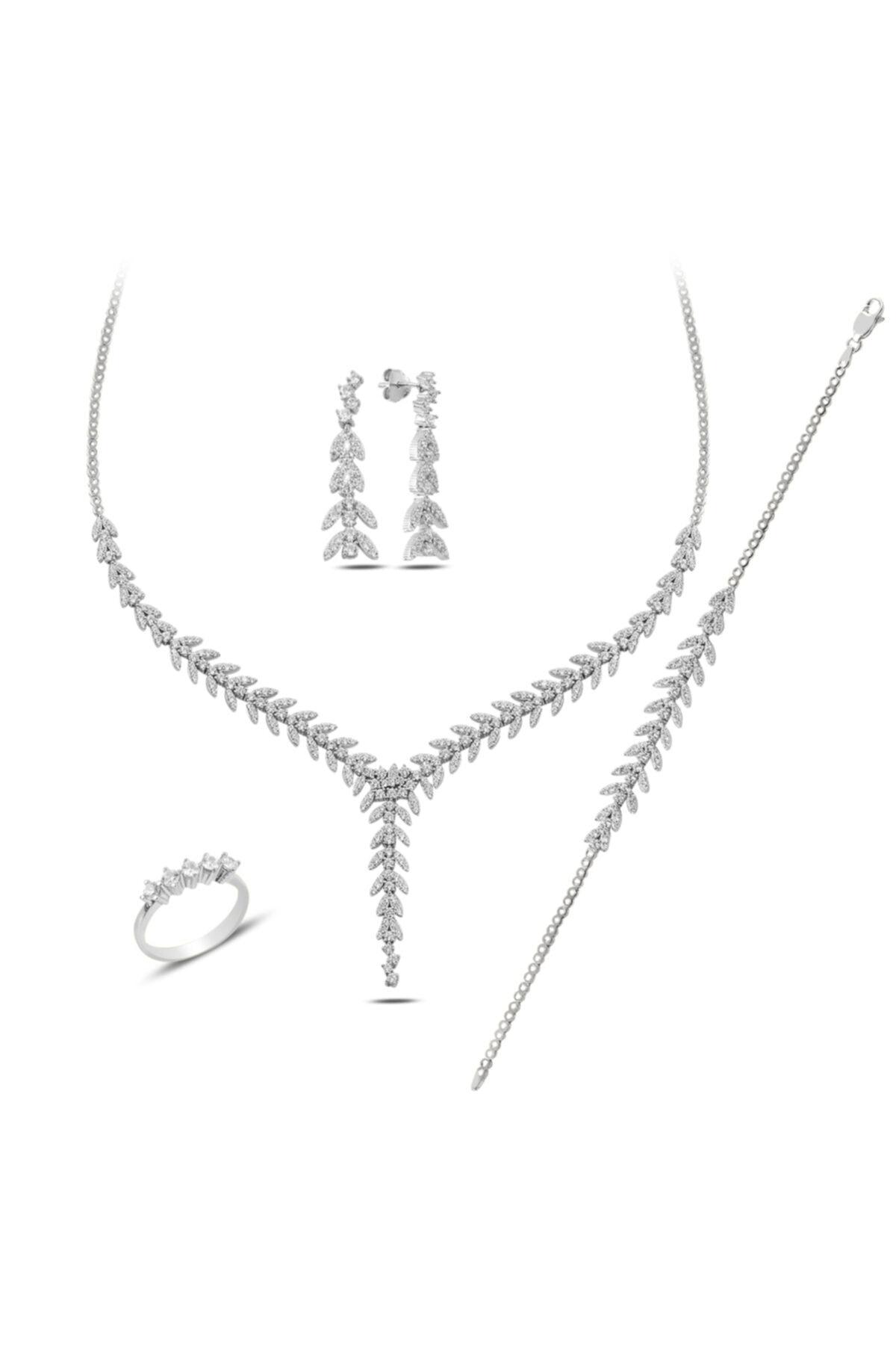 BARIŞ TAKI Kadın 925 Ayar Gümüş Salkım Pırlanta Montür 5 Taş Su Yolu Düğün Seti 2