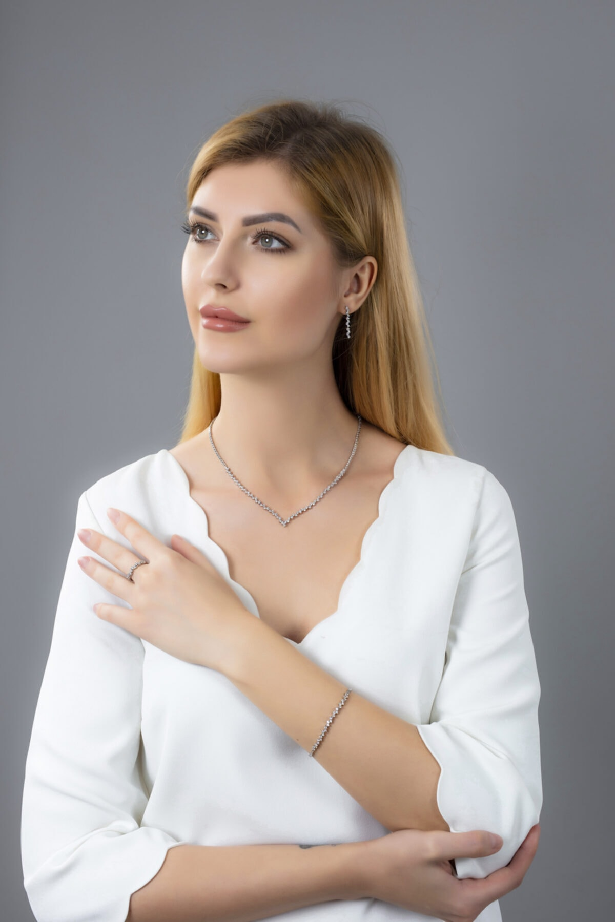 BARIŞ TAKI Kadın 925 Ayar Gümüş Pırlanta Montür Su Yolu Düğün Seti 1