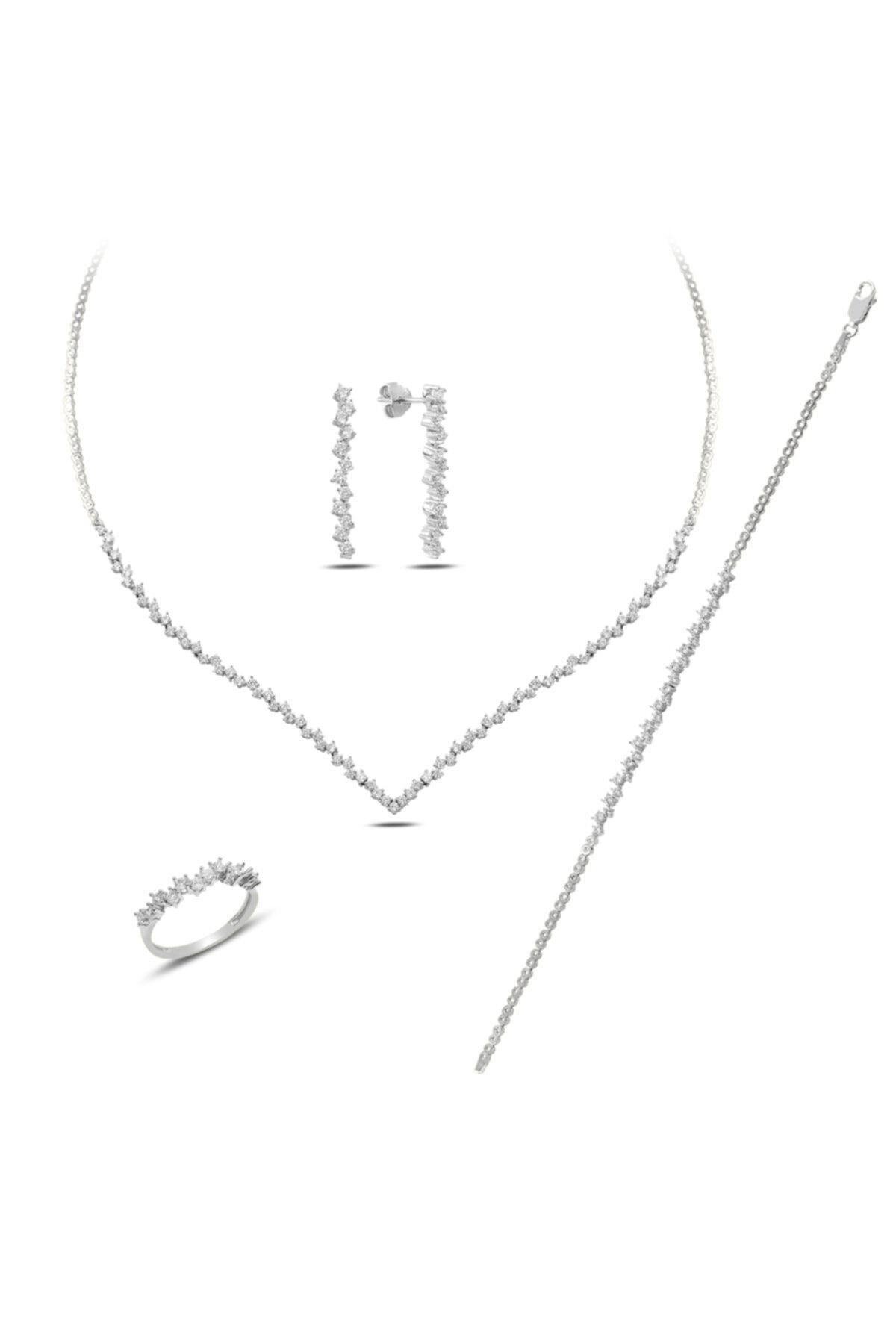 BARIŞ TAKI Kadın 925 Ayar Gümüş Pırlanta Montür Su Yolu Düğün Seti 2