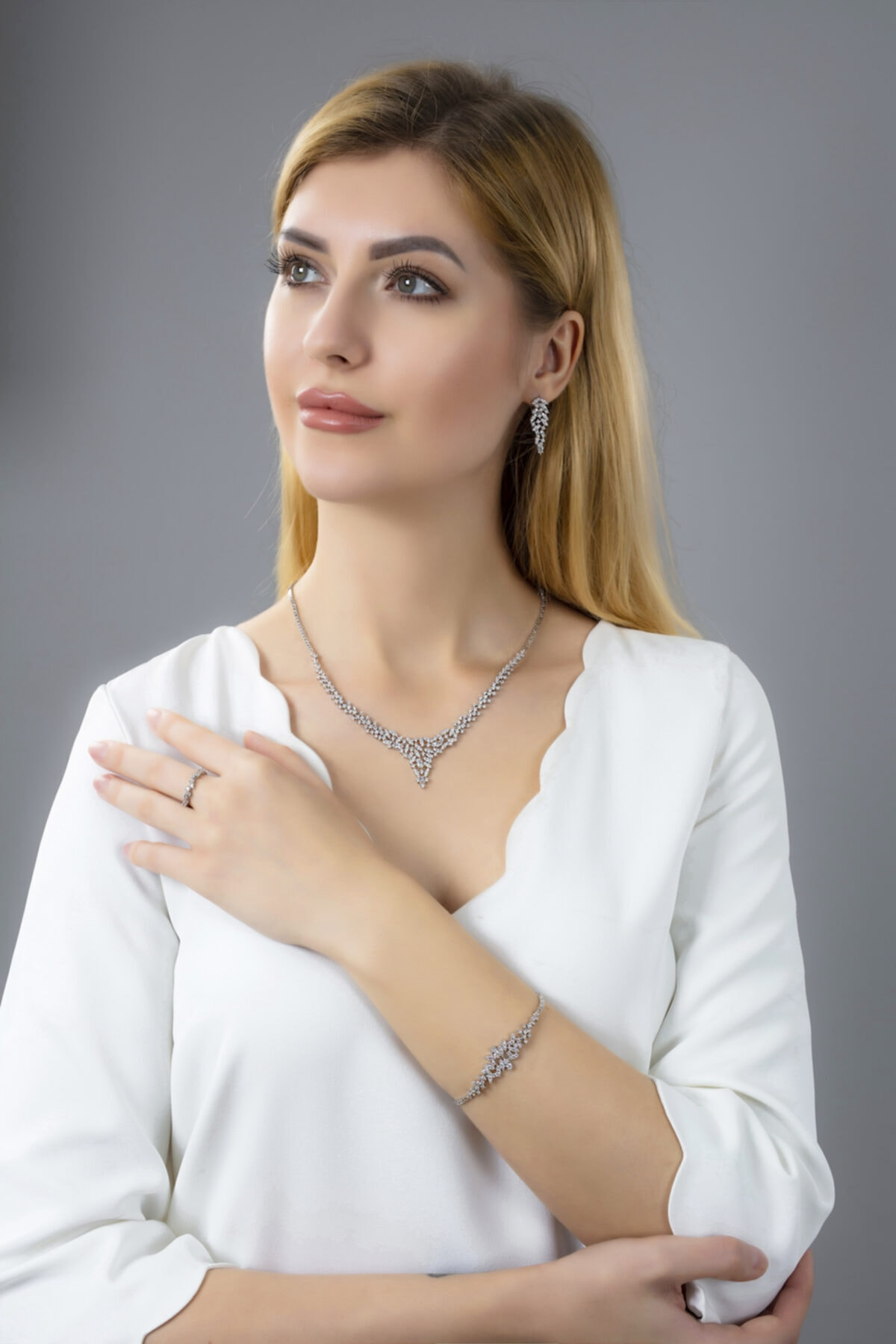 BARIŞ TAKI Kadın 925 Ayar Gümüş Mekik Pırlanta Montür Su Yolu Düğün Set 1