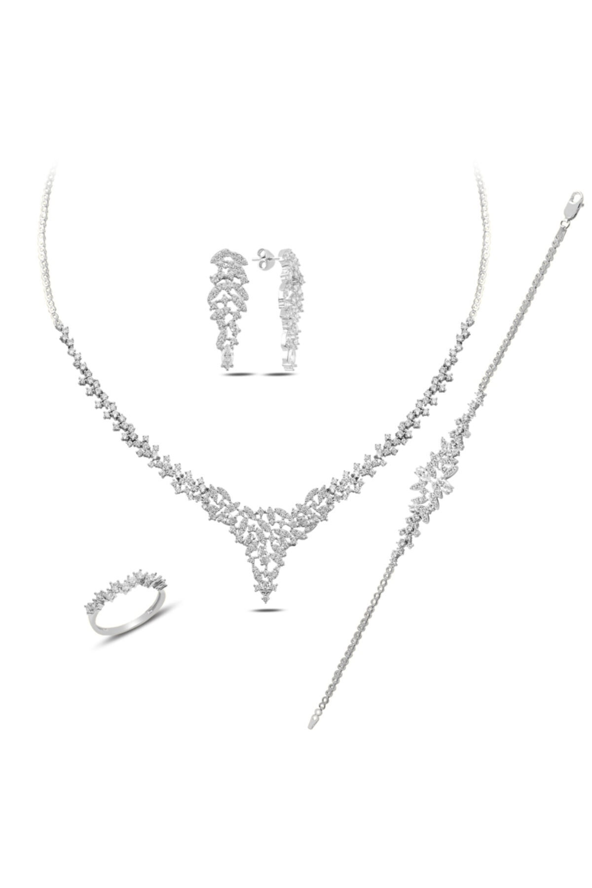 BARIŞ TAKI Kadın 925 Ayar Gümüş Mekik Pırlanta Montür Su Yolu Düğün Set 2