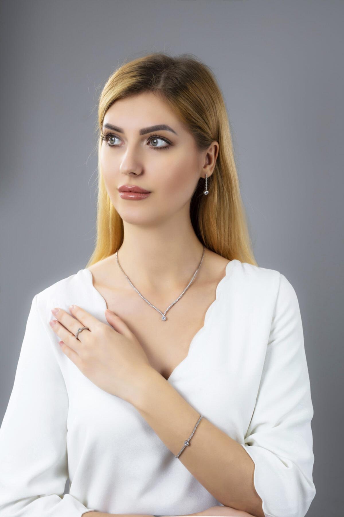 BARIŞ TAKI Kadın 925 Ayar Gümüş Tek Taş Pırlanta Montür Su Yolu Düğün Set 1