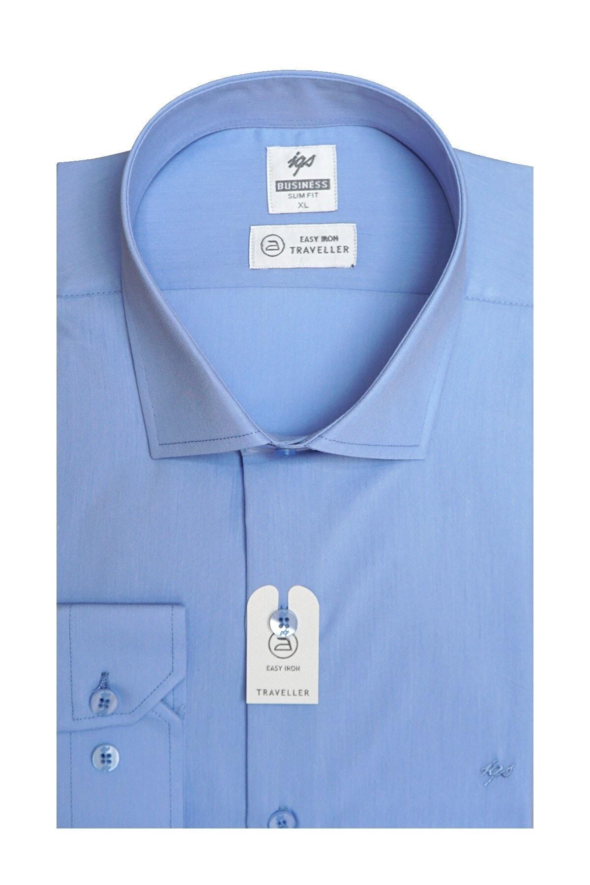 İgs Erkek Mavi Slım Fıt Dar Kalıp Std Gömlek 2