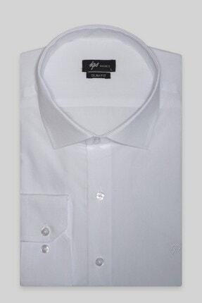 İgs Erkek Beyaz Slım Fıt Dar Kalıp  Klasik Gömlek