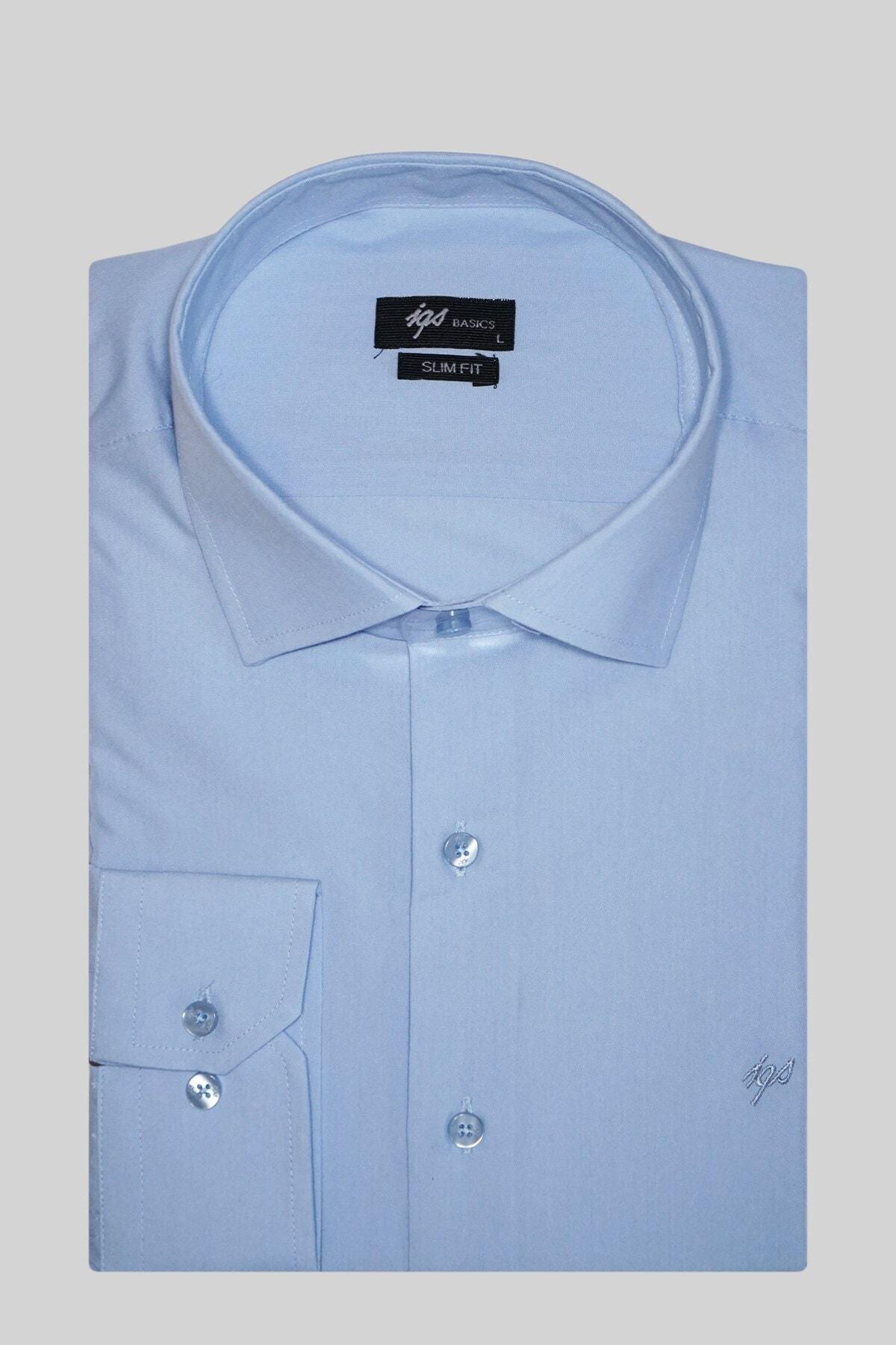 İgs Erkek Mavi Slım Fıt Dar Kalıp Klasik Gömlek 1