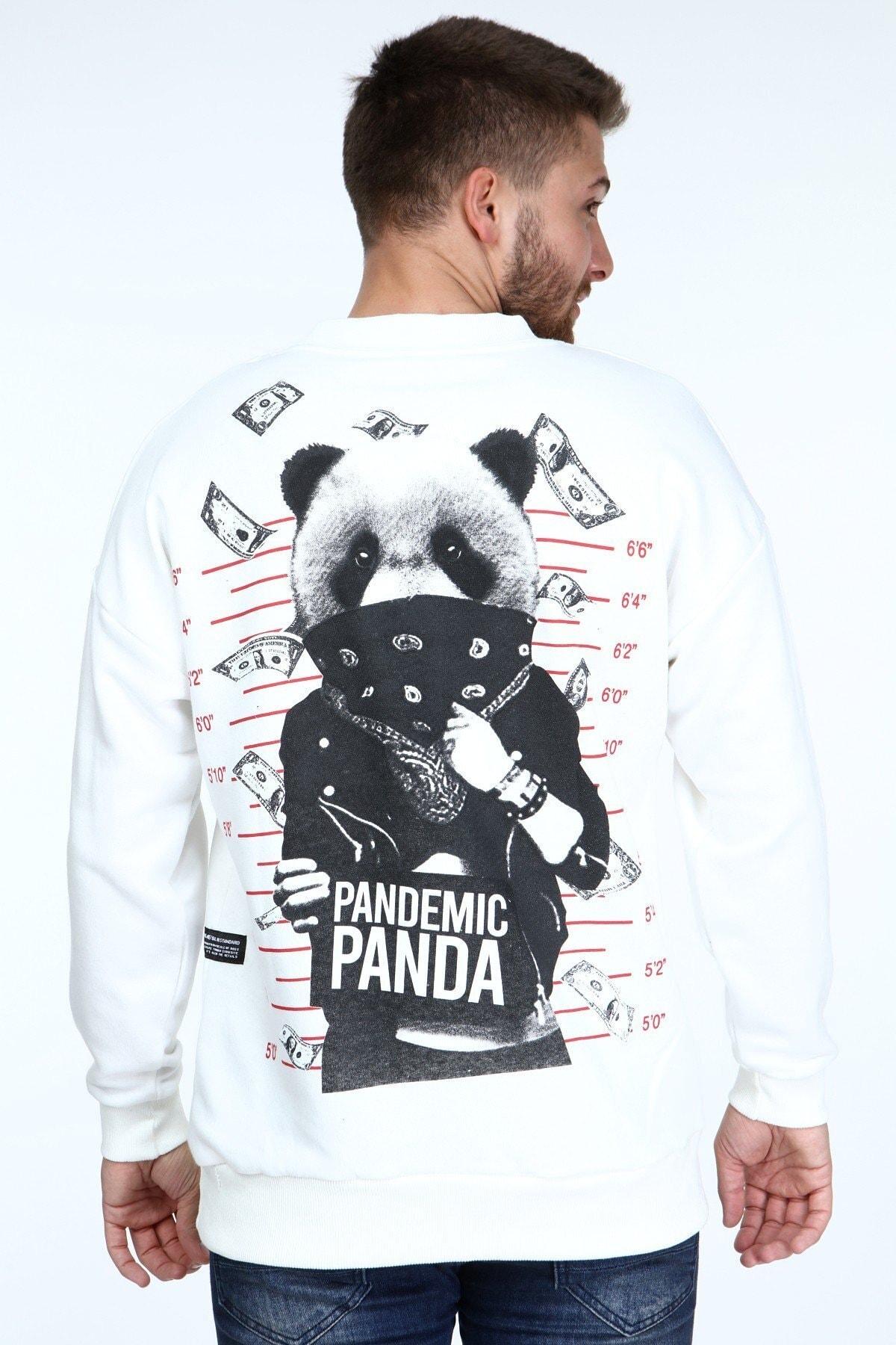 Millionaire Erkek Ekru Panda Baskılı Oversize Sweatshirt 2