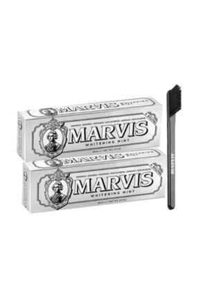 Marvis Whitening Diş Macunu 85 Ml 2 Adet+diş Fırçası 2li Beyaz Ve Fırça