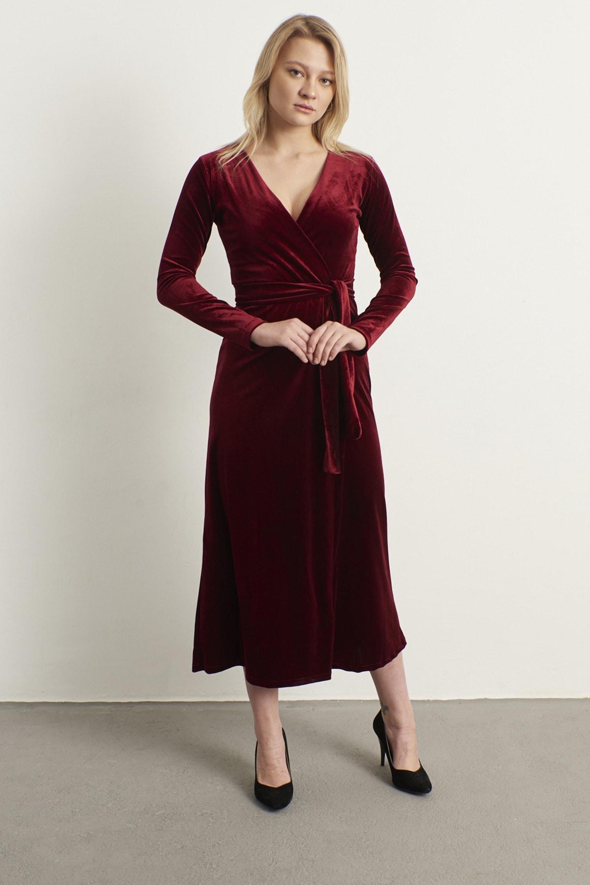 ELBİSENN Kadın Bordo Kruvaze Yaka Kadife Elbise 1