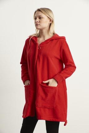 ELBİSENN Kadın Kırmızı Kapüşonlu Cepli Kaşe Ceket