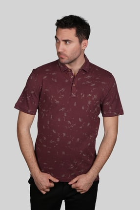 İgs Erkek Mürdüm Modern Fit Polo Yaka T-shirt
