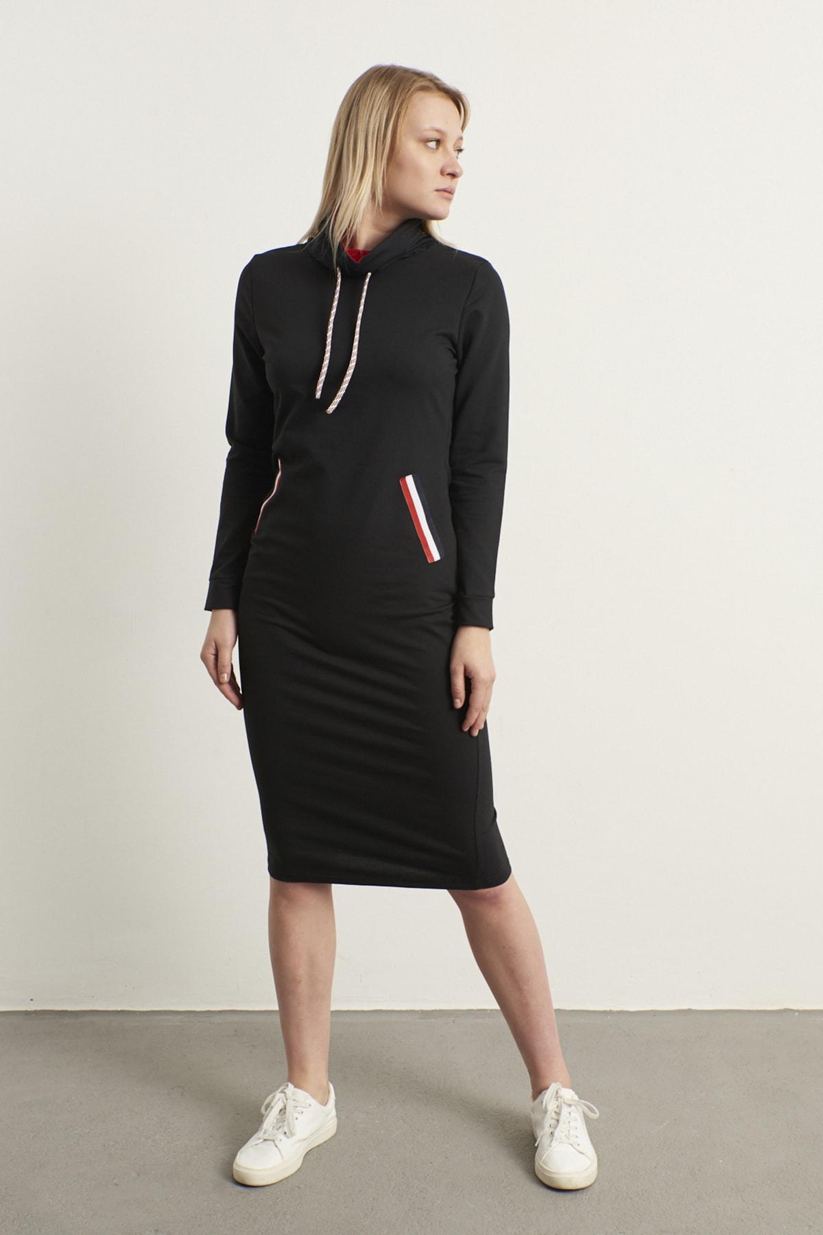 ELBİSENN Kadın Siyah Şerit Detay Spor Elbise 2