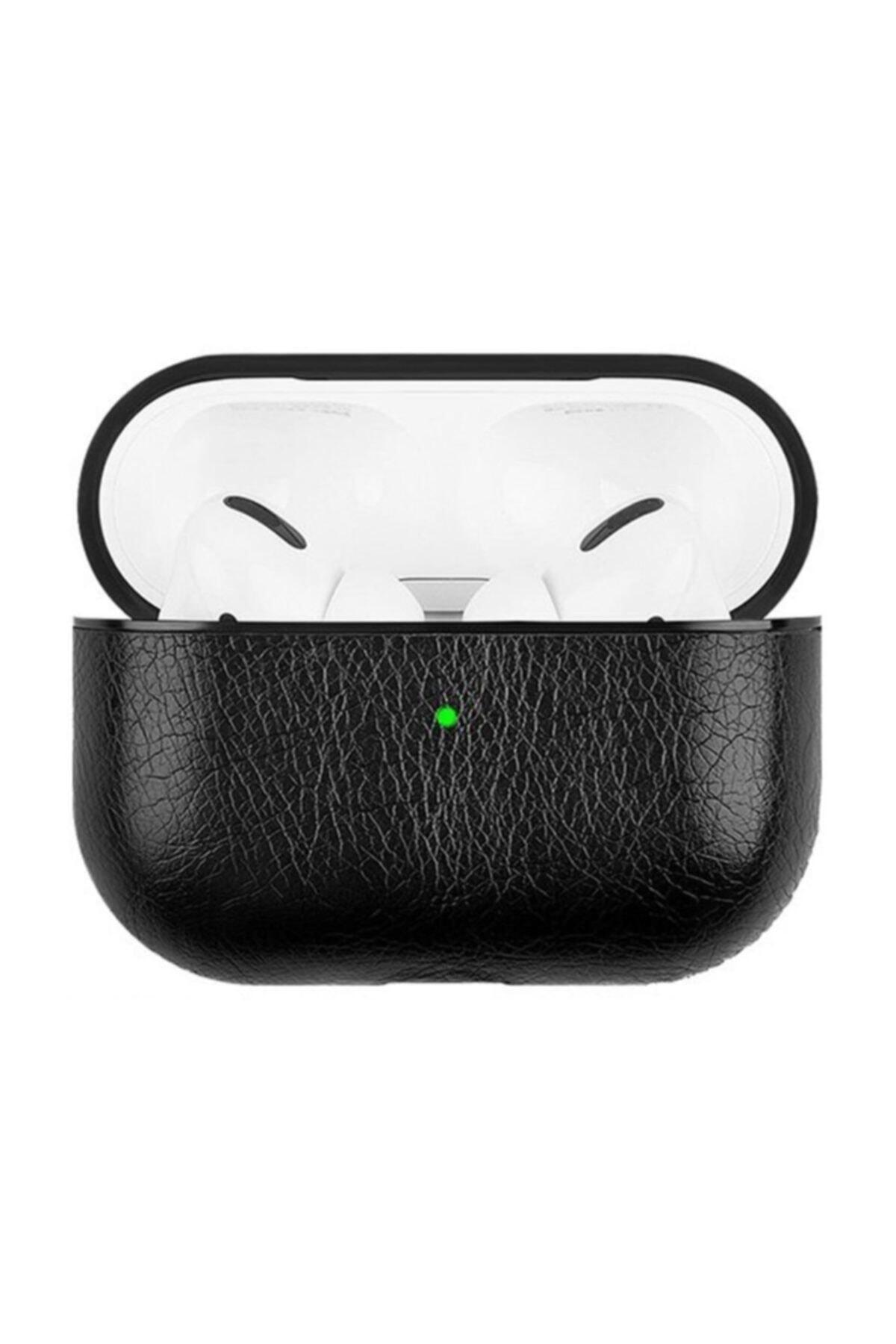 Telehome Siyah Apple Kulaklık Koruma Deri Airpods Pro Kılıf 2