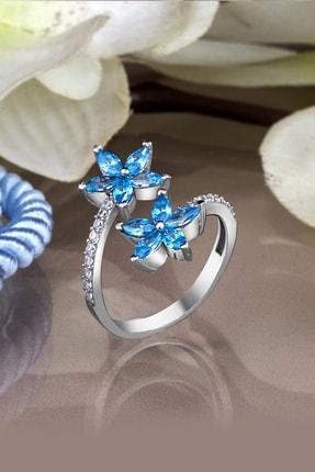 Else Silver Kadın Mavi Mikro Taşlı Kardelen Çiçeği Gümüş Yüzük