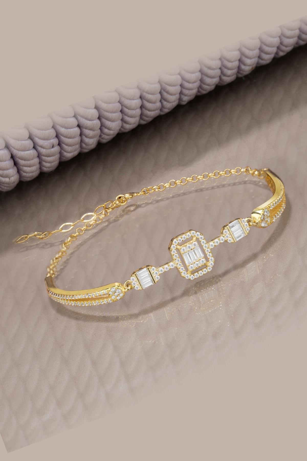 Else Silver Kadın Sarı Tria Baget Taşlı Kelepçe Modeli 925 Ayar Gümüş Bileklik 1