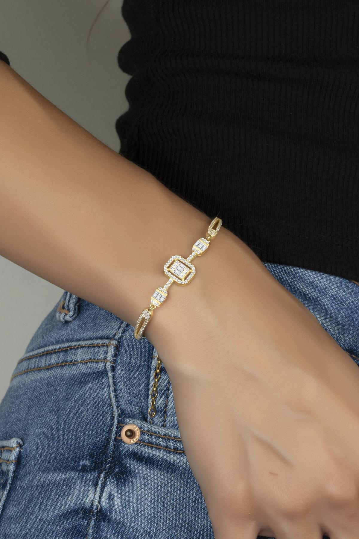Else Silver Kadın Sarı Tria Baget Taşlı Kelepçe Modeli 925 Ayar Gümüş Bileklik 2
