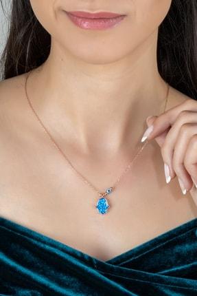 Else Silver Kadın Mavi Opal Taşlı Fatma Ana Eli Gümüş Kolye
