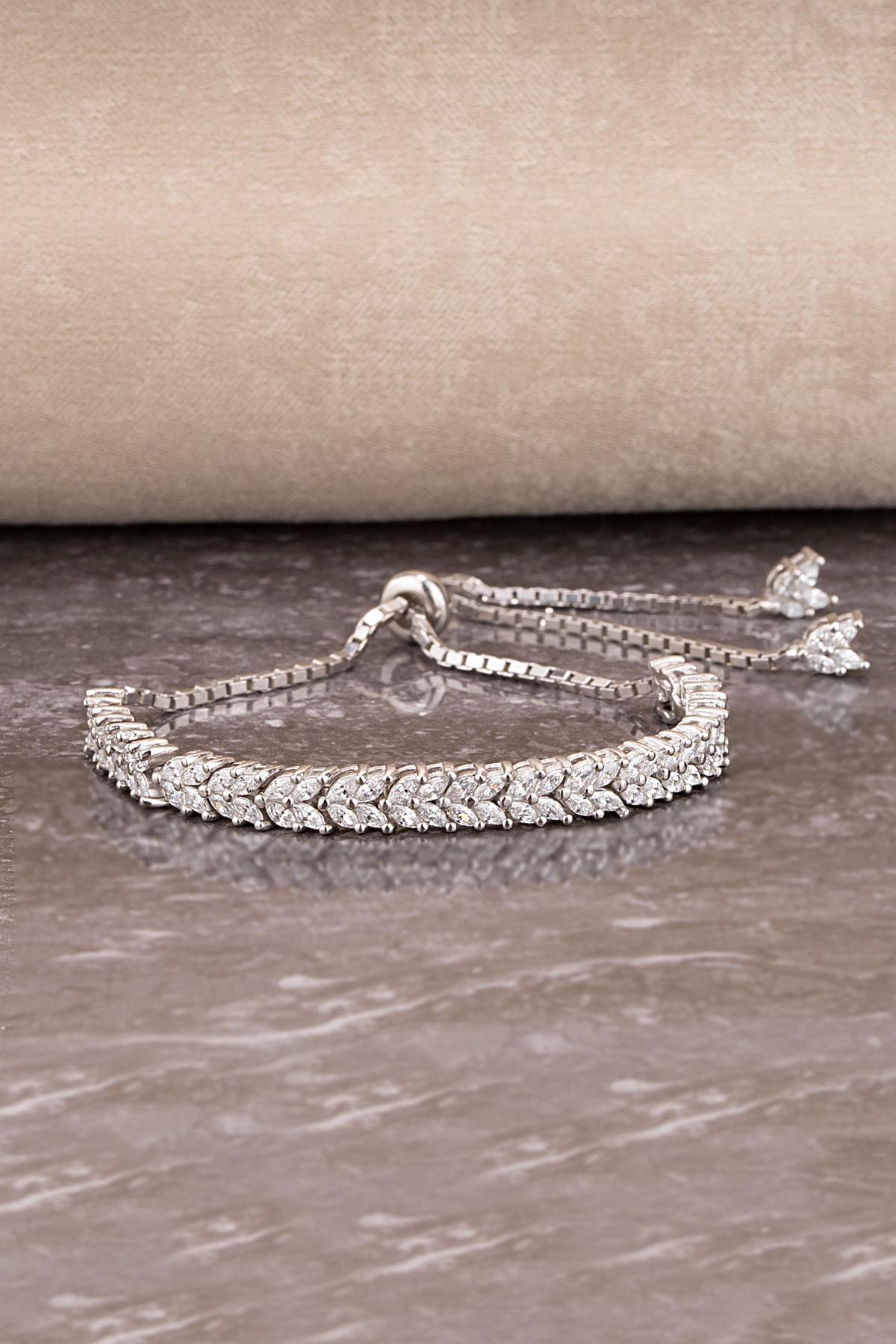 Else Silver Kadın Gümüş Mekik Taşlı Asansörlü Başak Bileklik 1