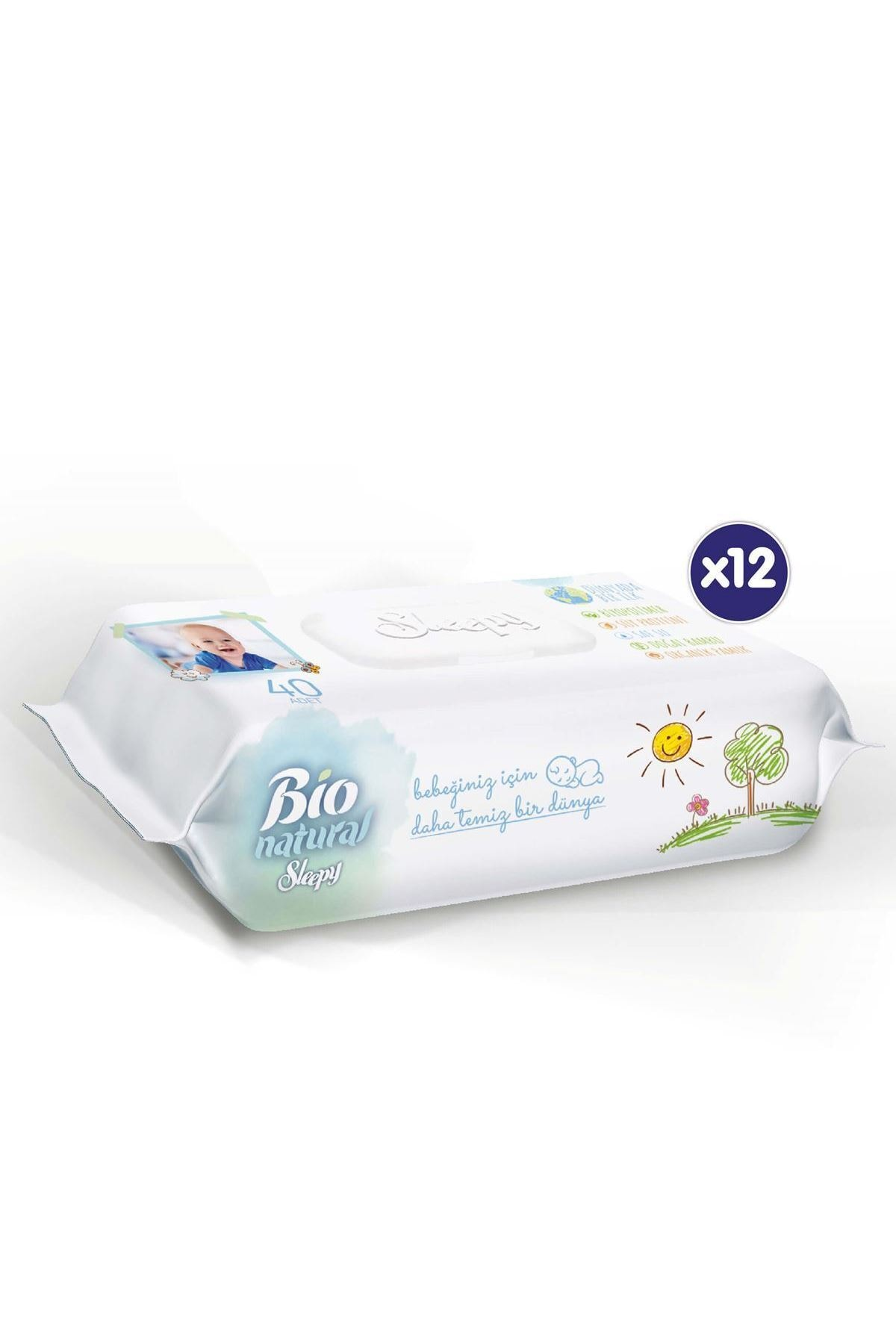 Sleepy Bio Natural Islak Havlu 12x40 (480 Yaprak) 2