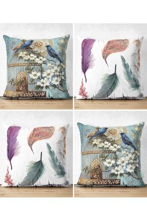 Realhomes Çift Taraflı Kuş Ve Tüy Kombinli Modern 4'lü Dekoratif Süet Yastık Kırlent Kılıf Seti