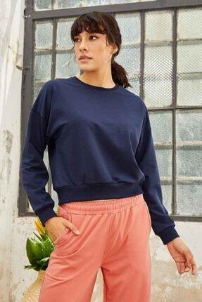 Tommy Life Kadın Indigo Klasik O Yaka Sweatshirt