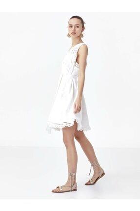 Twist Kadın Ekru Güpür Mix Tek Omuz Elbise