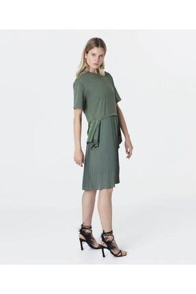 İpekyol Kadın Haki Kumaş Mixli Sweat Elbise