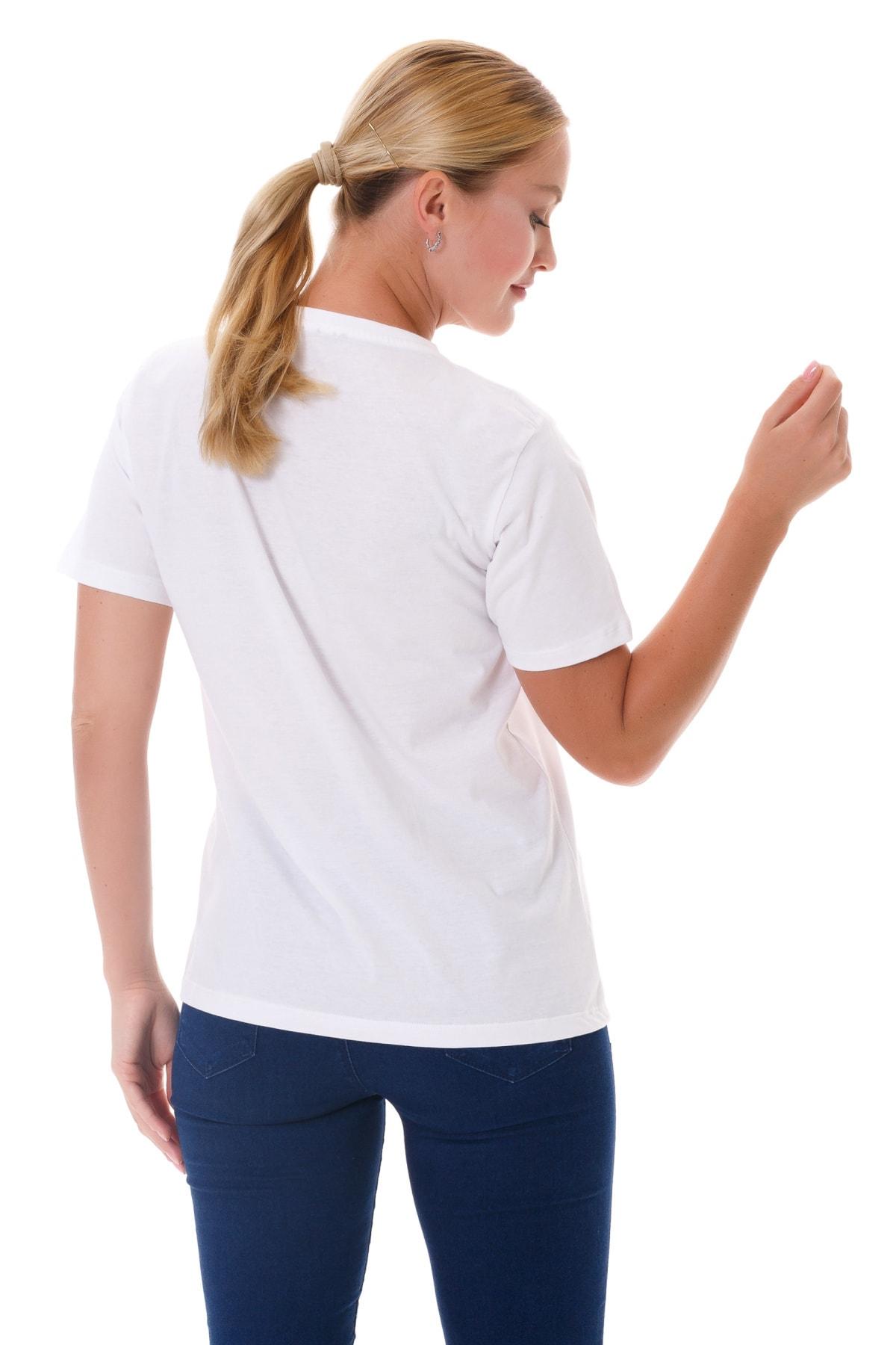 NOT AT HOME Kadın Beyaz Bisiklet Yaka Dağ Desenli T-shirt 2