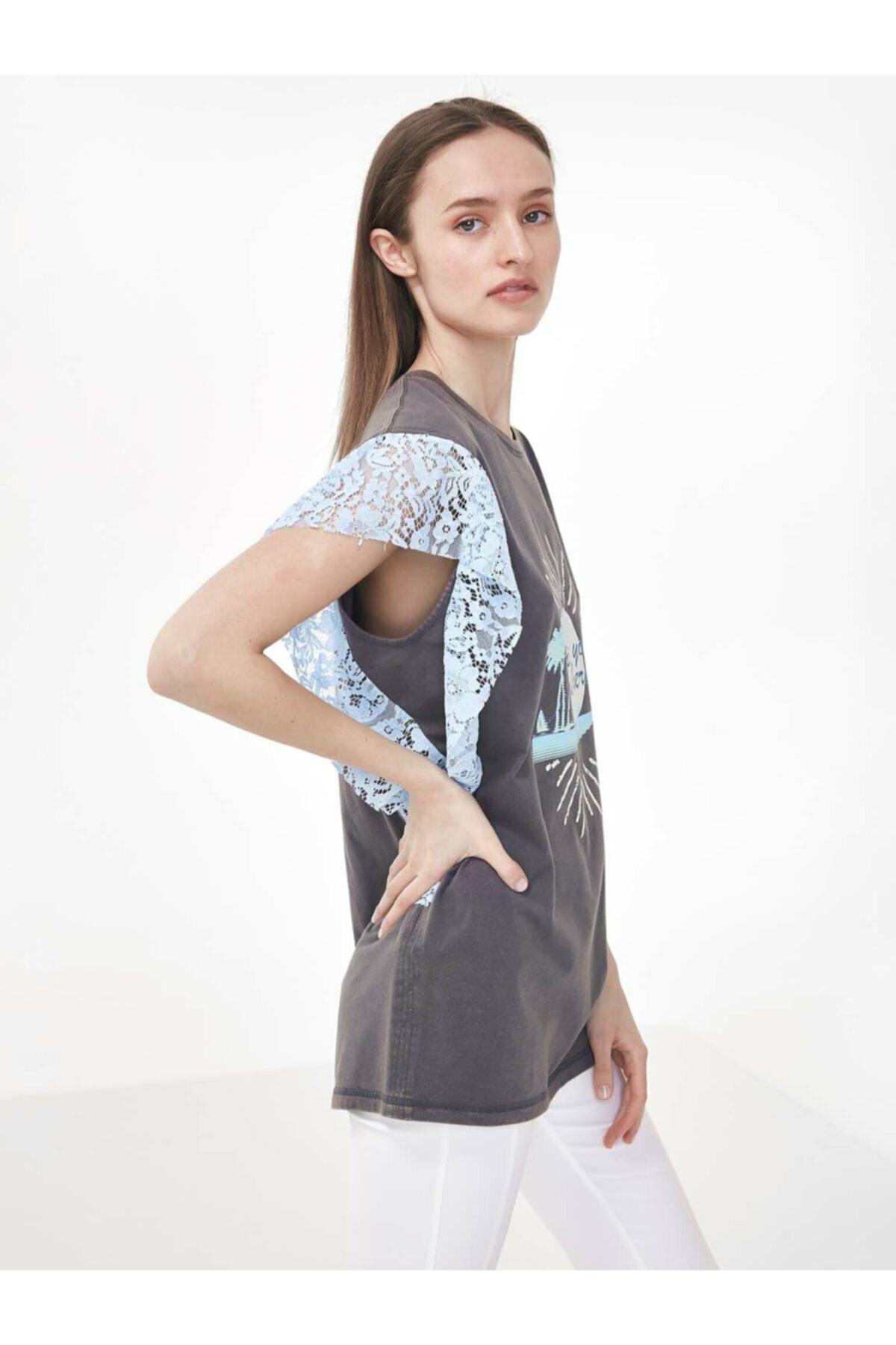 Twist Kadın Gri Dantel Mixli Tshirt TS1200070160126 1