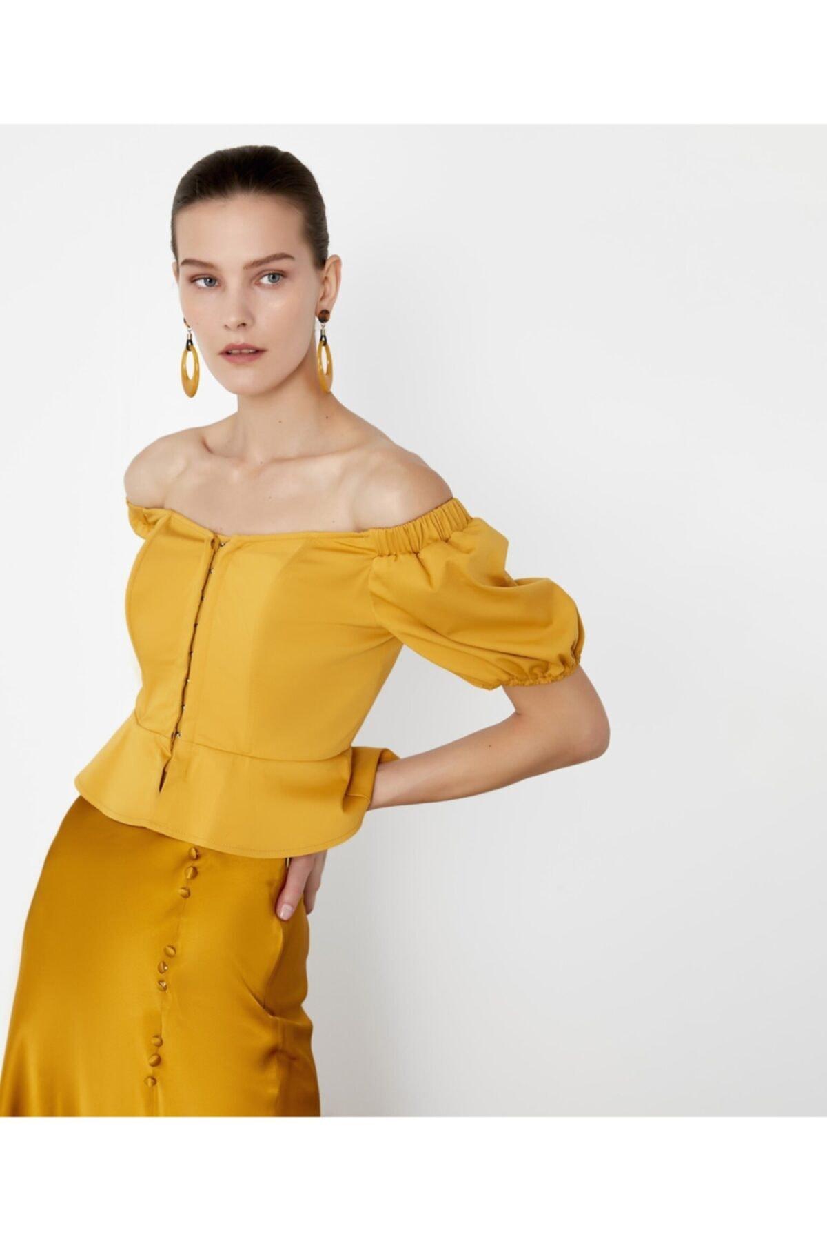 İpekyol Kadın Sarı Düşük Omuzlu Crop Bluz 2
